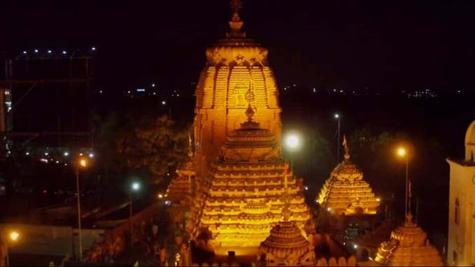 night photo view of puri jagannath temple hyderabad
