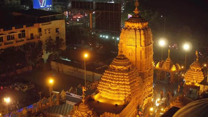 puri jagannath temple hyderabad areal view in night