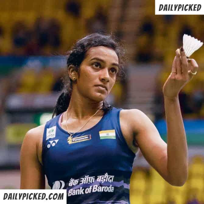 pv sindhu holding badminton cork
