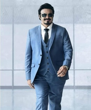 balakrishna in blue suit