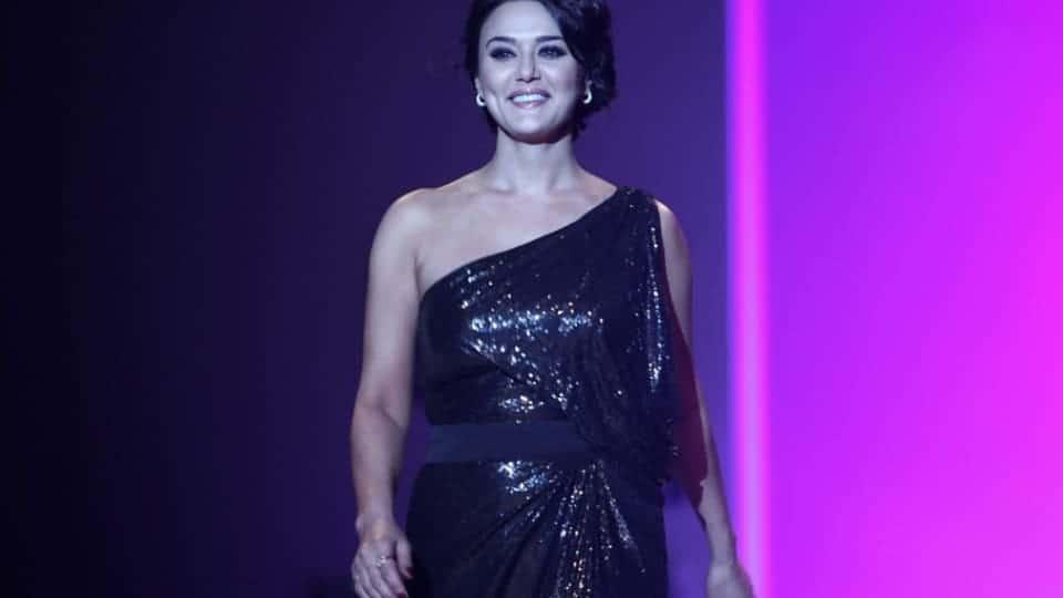 Preety Zinta in modern black dress