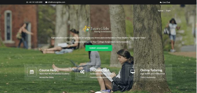 Tutorsglobe.com Website